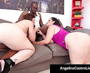 Cuban queen angelina castro & sara jay blow a large dark penis