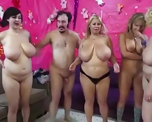 Orgy with bulky large boobs milfs