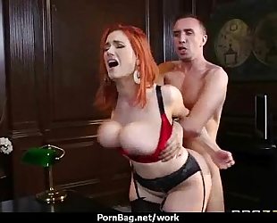 Busty chick is hopeless for a raise and copulates her boss and earn it three