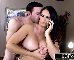 Lovely nympho alison tyler calls spouse during the time that giving oral sex to her paramour
