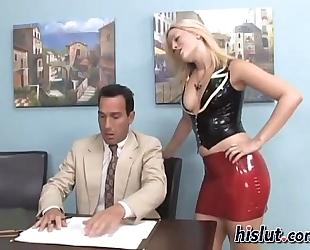 Mistress makes her thrall cum on her feet