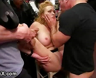 Busty slavery hottie groped and drilled in public porn store full of strangers